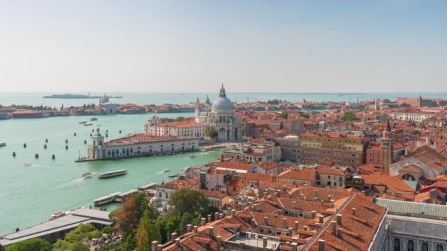italy sunny day campanile santa maria della salute basilica view point panorama 4k time lapse venice video