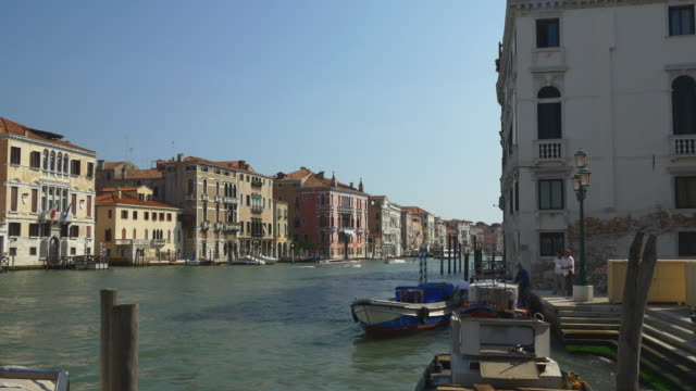 italy sunny day famous venice city grand canal traffic panorama 4k video