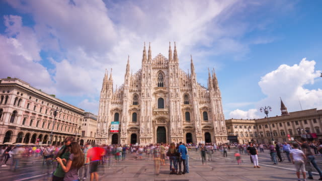 italy sunny day milan city famous duomo cathedral square panorama 4k time lapse video