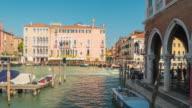 italy sunny day rialto mercato canal traffic bay panorama 4k time lapse venice city video