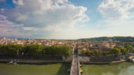 italy sunny day rome famous castle rooftop view on tiber river bridge panorama 4k time lapse video