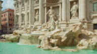 italy sunny day rome famous trevi fountain building front panorama 4k time lapse video