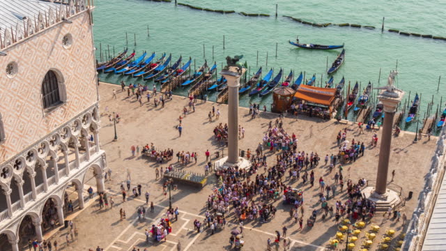 italy sunny day saint marko square palazzo ducale bay aerial panorama 4k time lapse venice video