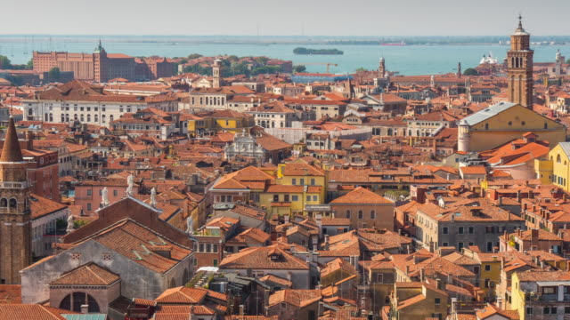 italy sunny day san marco campanile view point venice aerial roof top city panorama 4k time lapse video