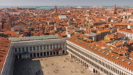 italy sunny day san marco square campanile view point panorama 4k time lapse venice video