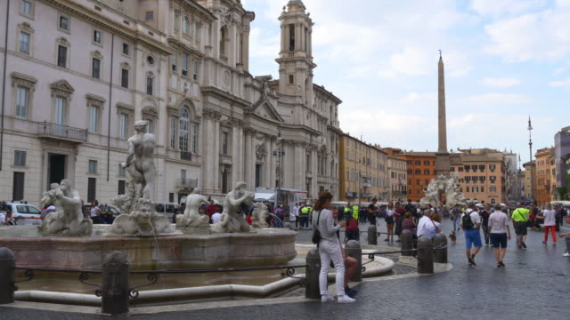 italy sunny day sant'agnese in piazza navona crowded panorama 4k video