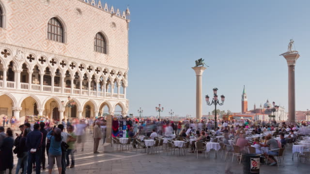 italy sunny day venice city famous palazzo ducale square restaurant panorama 4k time lapse video