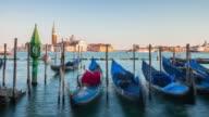italy sunset famous venice city gandola bay parking san giorgio maggiore church panorama 4k time lapse video