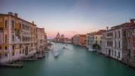 italy sunset famous venice city grand canal santa maria della salute panorama 4k time lapse video