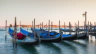 italy sunset famous venice palazzo ducale bay gandola parking panorama 4k time lapse video