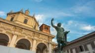 italy sunset milan city famous san lorenzo constantino monument panorama 4k time lapse video