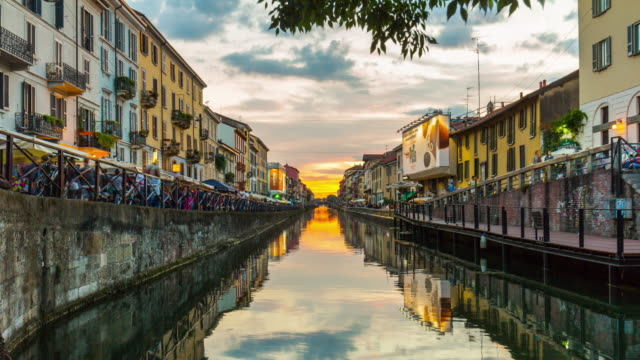 italy sunset milan ripa di porta ticinese grande canal panorama 4k time lapse video