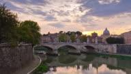 italy sunset rome city tiber river bridge vatican famous panorama 4k time lapse video