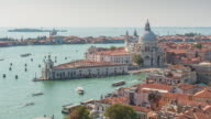 italy venice sunny day campanile santa maria della salute basilica view point panorama 4k time lapse video