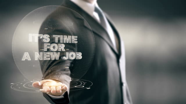 It's Time for a New Job Businessman Holding in Hand New technologies video