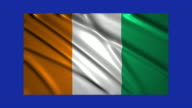 Ivory Coast flag waving,loopable on blue screen video