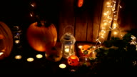 Jack-o-lantern on a dark background video