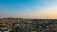 Jaisalmer cityscape from sunset to twilight, time lapse video