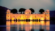 Jal Mahal (Water Palace) on Man Sagar Lake in the evening in twilight. Jaipur, Rajasthan, India video