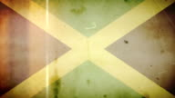 Jamaican Flag - Grungy Retro Old Film Loop with Audio video