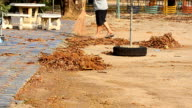 Janitor with broom sweeping fallen leaves video
