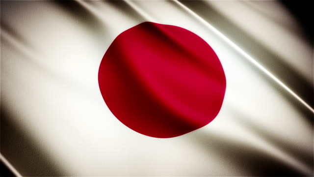 Japan realistic national flag seamless looped waving animation video