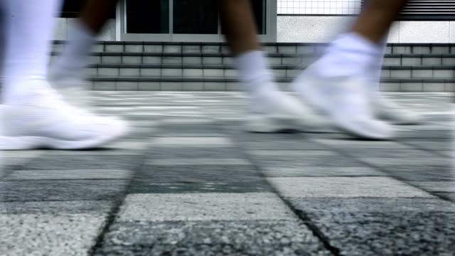 Japan Schoolgirls Sidewalk video