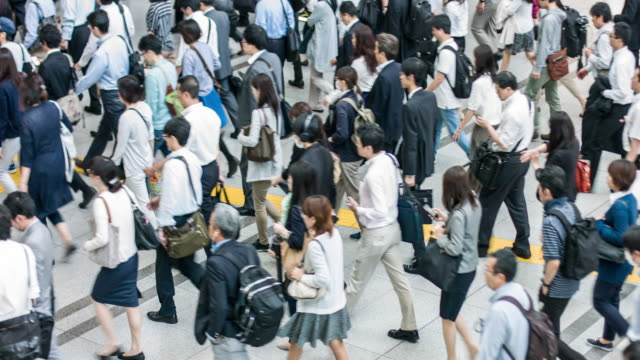 Japanese commuting to work in Tokyo video