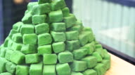 Japanese dessert , pile of green tea powdered sweets candy video