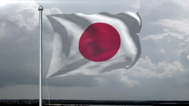 Japanese Flag HD, PAL, NTSC, alpha included, looping video