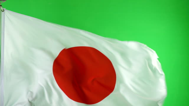 4K: Japanese Japan Flag on green screen, Real video, not CGI video