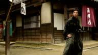 Japanese Ronin Warrior running to battle video