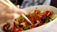 Japanese salad of sashimi video