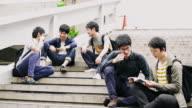 DS Japanese students having a break on steps video