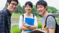 Japanese students talking outdoors in the university video