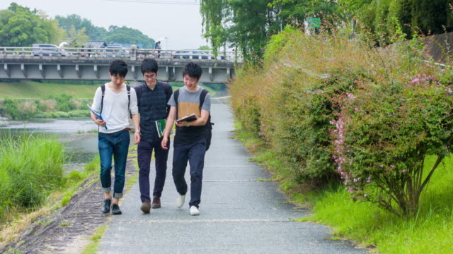 Japanese students walking back home from university video