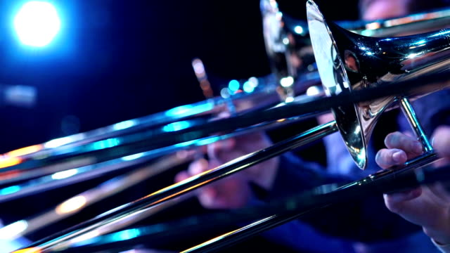 Jazz musician with fragment trumpet video