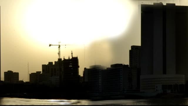Jeddah city Waterfront from dawn till sunrise closeup seamless loop video