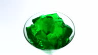 Jello falling and bouncing, Slow Motion video