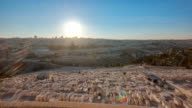 Jerusalem panorama view over the City at sunset timelapse with the Dome of the Rock from the Mount of Olives video