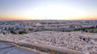 Jerusalem panorama view over the City day to night timelapse with the Dome of the Rock from the Mount of Olives video