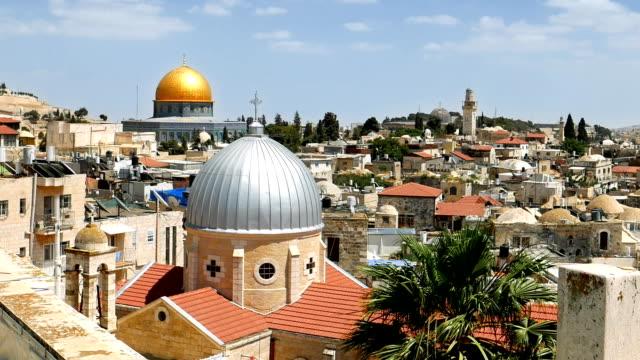 Jerusalem panoramic aerial roof view video