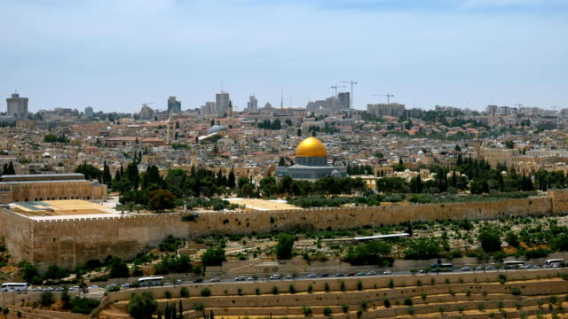 Jerusalem panoramic aerial view time lapse video