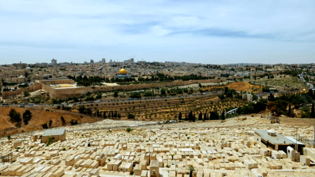 Jerusalem panoramic olive mountain view time lapse video