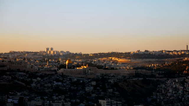 Jerusalem panoramic sunset view time lapse video