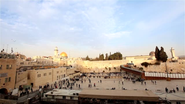 Jerusalem, Western Wall and Dome of the Rock, Israel flag, general plan video