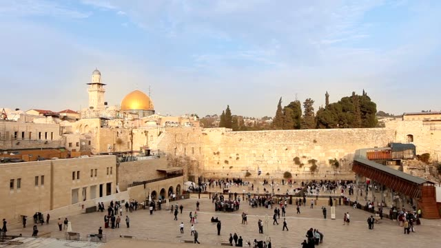 Jerusalem, Western Wall and Dome of the Rock, Israel flag, general plan, Timelapse video