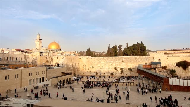 Jerusalem, Western Wall and Dome of the Rock, Israel flag, general plan, Timelapse, nice weather video