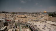 Jerusalem wide angle panoramic view of Wailing Wall video