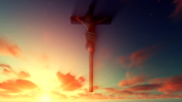 Jesus cross against beautiful sunrise video